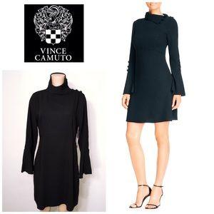 Bell sleeve fold down collar black dress. NWT